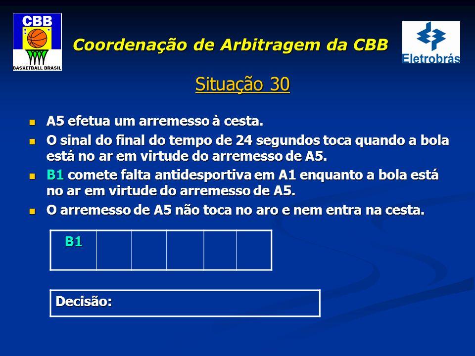 Coordenação de Arbitragem da CBB Situação 30 A5 efetua um arremesso à cesta. A5 efetua um arremesso à cesta. O sinal do final do tempo de 24 segundos