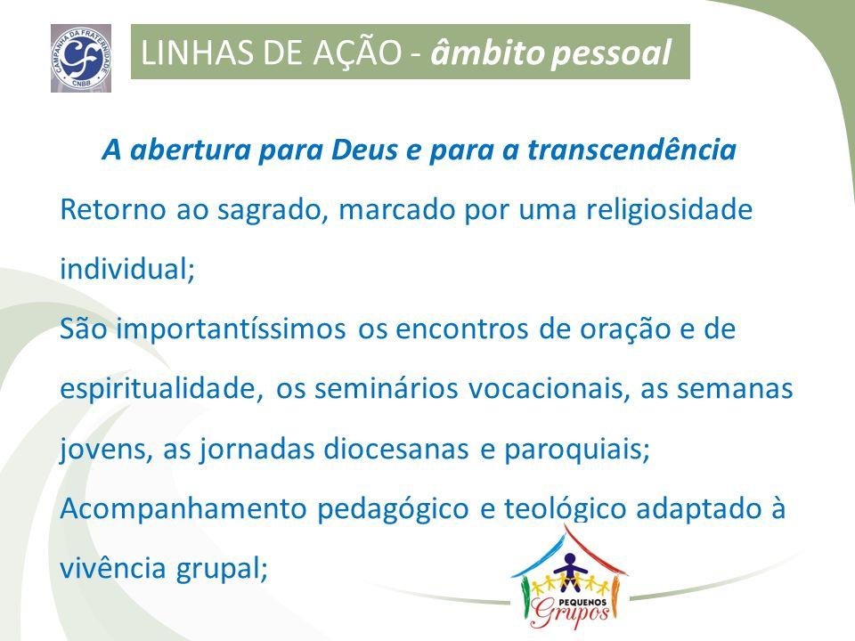 A abertura para Deus e para a transcendência Retorno ao sagrado, marcado por uma religiosidade individual; São importantíssimos os encontros de oração