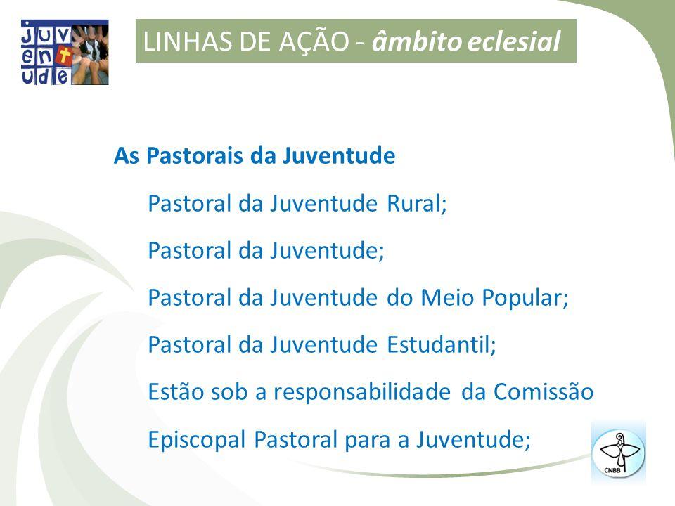As Pastorais da Juventude Pastoral da Juventude Rural; Pastoral da Juventude; Pastoral da Juventude do Meio Popular; Pastoral da Juventude Estudantil;