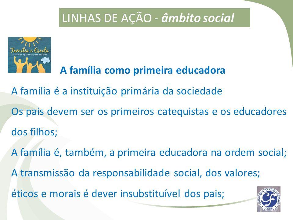 A família como primeira educadora A família é a instituição primária da sociedade Os pais devem ser os primeiros catequistas e os educadores dos filho