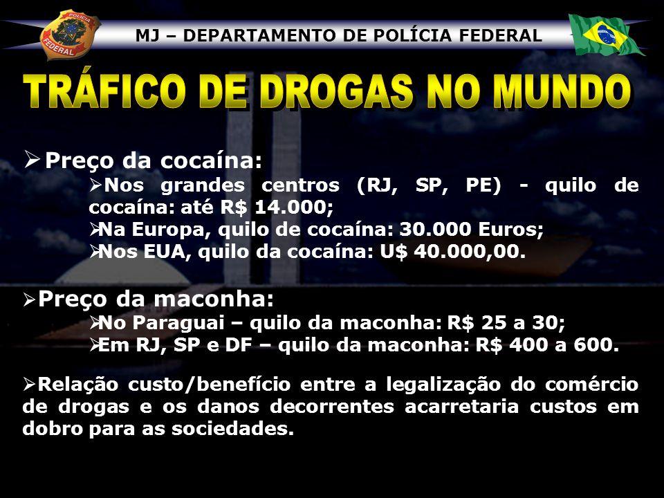 MJ – DEPARTAMENTO DE POLÍCIA FEDERAL Preço da cocaína: Nos grandes centros (RJ, SP, PE) - quilo de cocaína: até R$ 14.000; Na Europa, quilo de cocaína