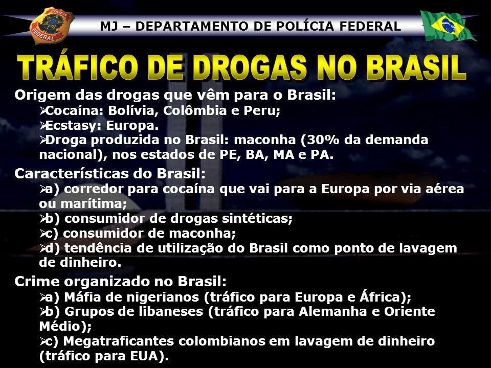MJ – DEPARTAMENTO DE POLÍCIA FEDERAL Origem das drogas que vêm para o Brasil: Cocaína: Bolívia, Colômbia e Peru; Ecstasy: Europa. Droga produzida no B