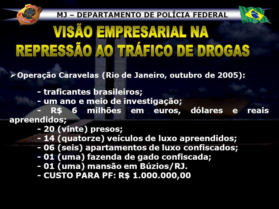MJ – DEPARTAMENTO DE POLÍCIA FEDERAL Operação Caravelas (Rio de Janeiro, outubro de 2005): - traficantes brasileiros; - um ano e meio de investigação;