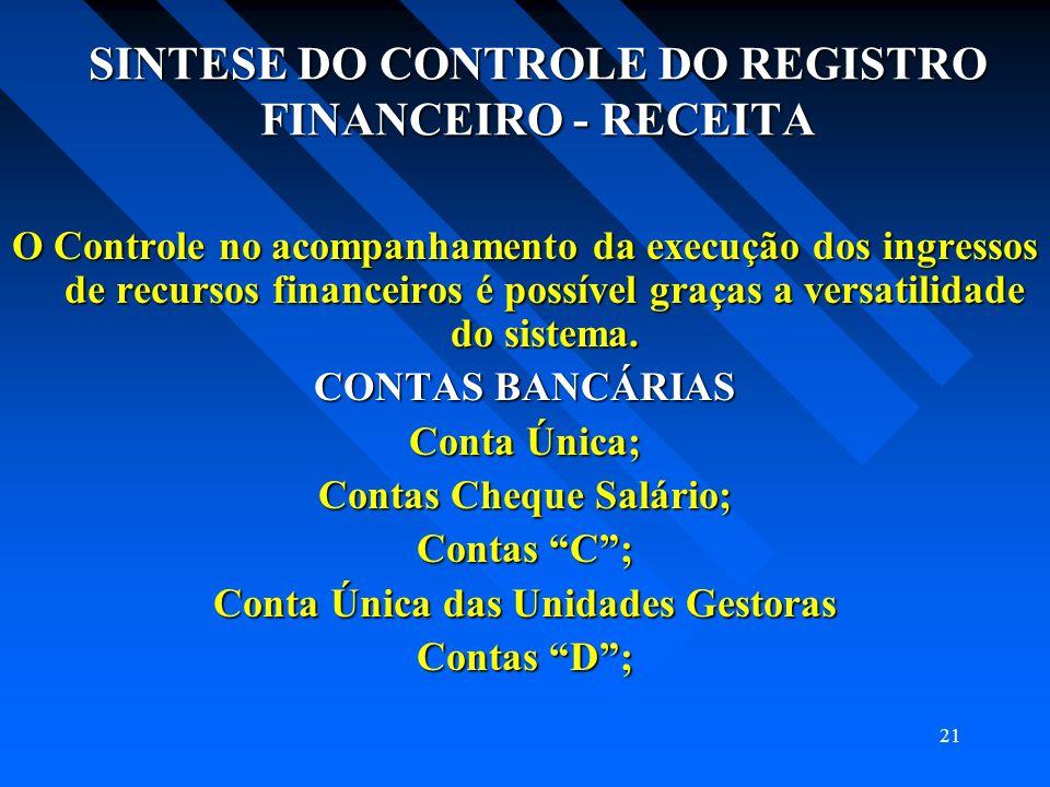 21 SINTESE DO CONTROLE DO REGISTRO FINANCEIRO - RECEITA O Controle no acompanhamento da execução dos ingressos de recursos financeiros é possível graç
