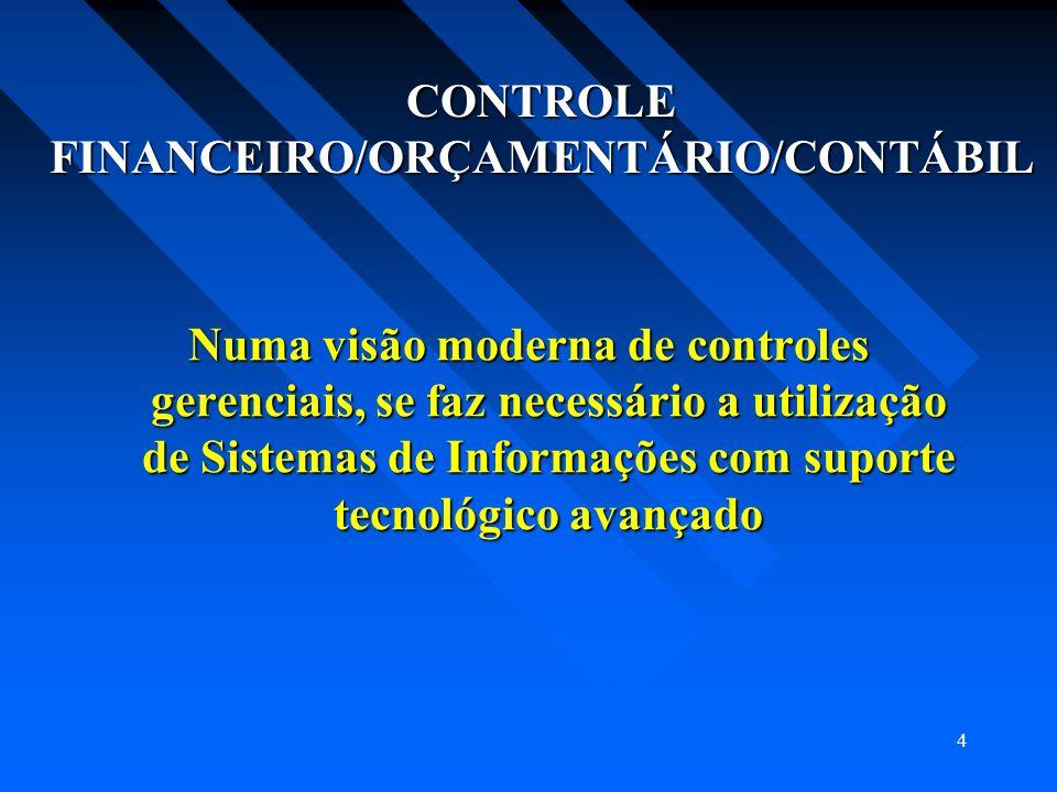 4 CONTROLE FINANCEIRO/ORÇAMENTÁRIO/CONTÁBIL Numa visão moderna de controles gerenciais, se faz necessário a utilização de Sistemas de Informações com