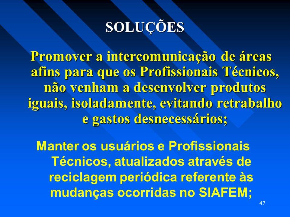 47 SOLUÇÕES Promover a intercomunicação de áreas afins para que os Profissionais Técnicos, não venham a desenvolver produtos iguais, isoladamente, evi