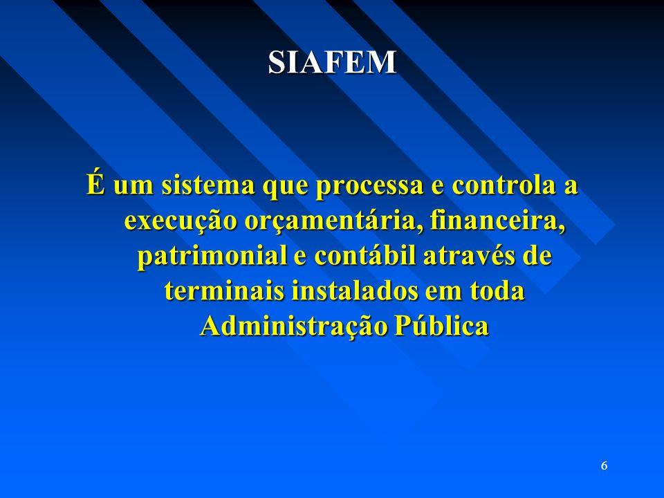 6 SIAFEM É um sistema que processa e controla a execução orçamentária, financeira, patrimonial e contábil através de terminais instalados em toda Admi