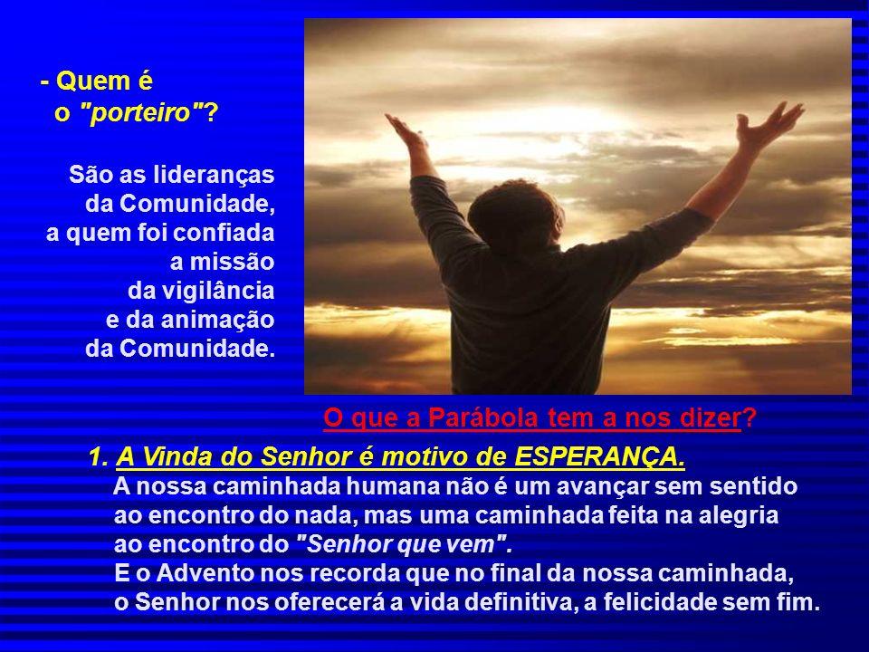 O que a Parábola tem a nos dizer.1. A Vinda do Senhor é motivo de ESPERANÇA.