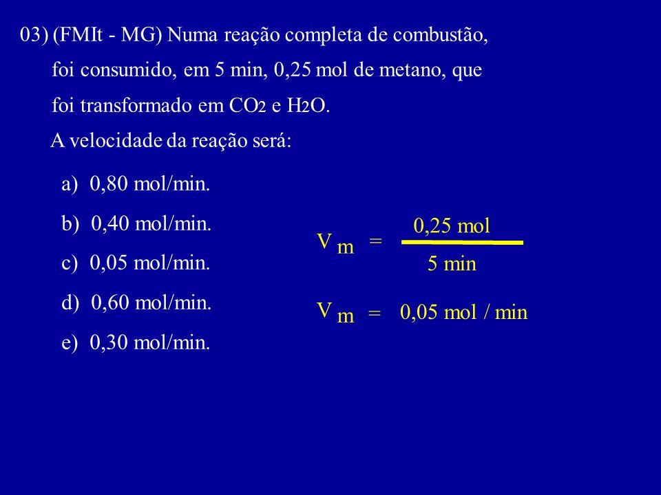 03) (FMIt - MG) Numa reação completa de combustão, foi consumido, em 5 min, 0,25 mol de metano, que foi transformado em CO 2 e H 2 O. A velocidade da