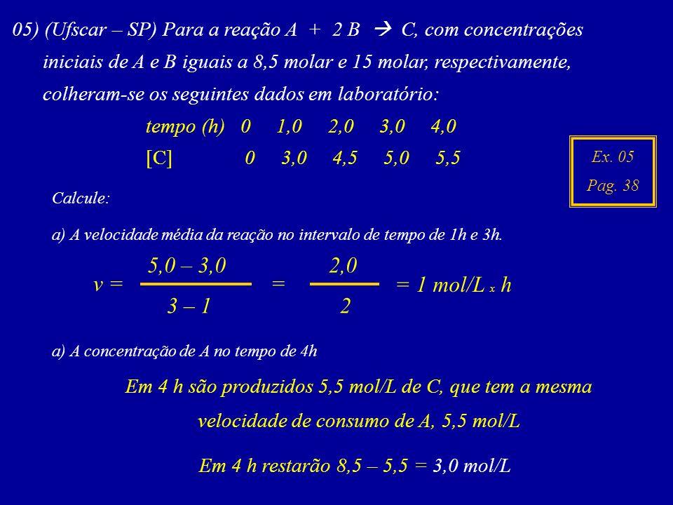 Ex. 05 Pag. 38 05) (Ufscar – SP) Para a reação A + 2 B C, com concentrações iniciais de A e B iguais a 8,5 molar e 15 molar, respectivamente, colheram