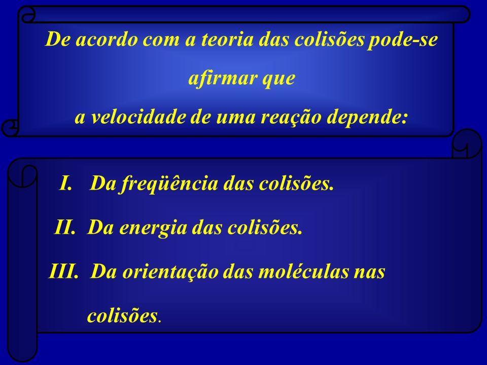 I. Da freqüência das colisões. II. Da energia das colisões. III. Da orientação das moléculas nas colisões. De acordo com a teoria das colisões pode-se