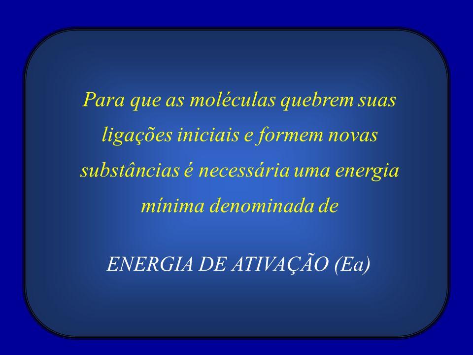 Para que as moléculas quebrem suas ligações iniciais e formem novas substâncias é necessária uma energia mínima denominada de ENERGIA DE ATIVAÇÃO (Ea)