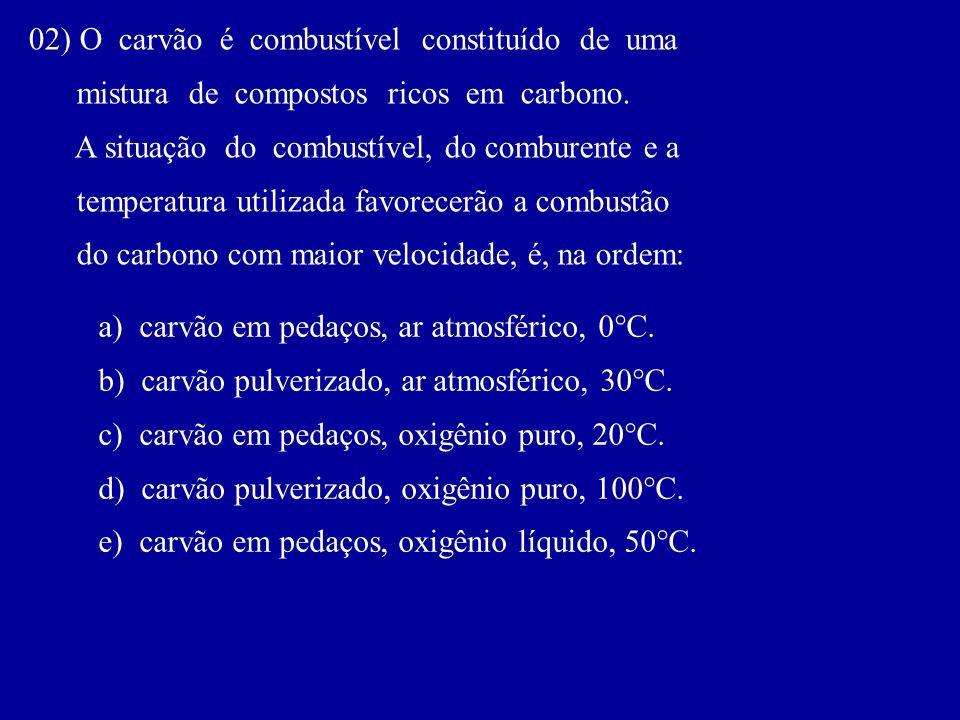 02) O carvão é combustível constituído de uma mistura de compostos ricos em carbono. A situação do combustível, do comburente e a temperatura utilizad