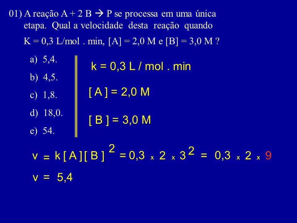 01) A reação A + 2 B P se processa em uma única etapa. Qual a velocidade desta reação quando K = 0,3 L/mol. min, [A] = 2,0 M e [B] = 3,0 M ? a) 5,4. b