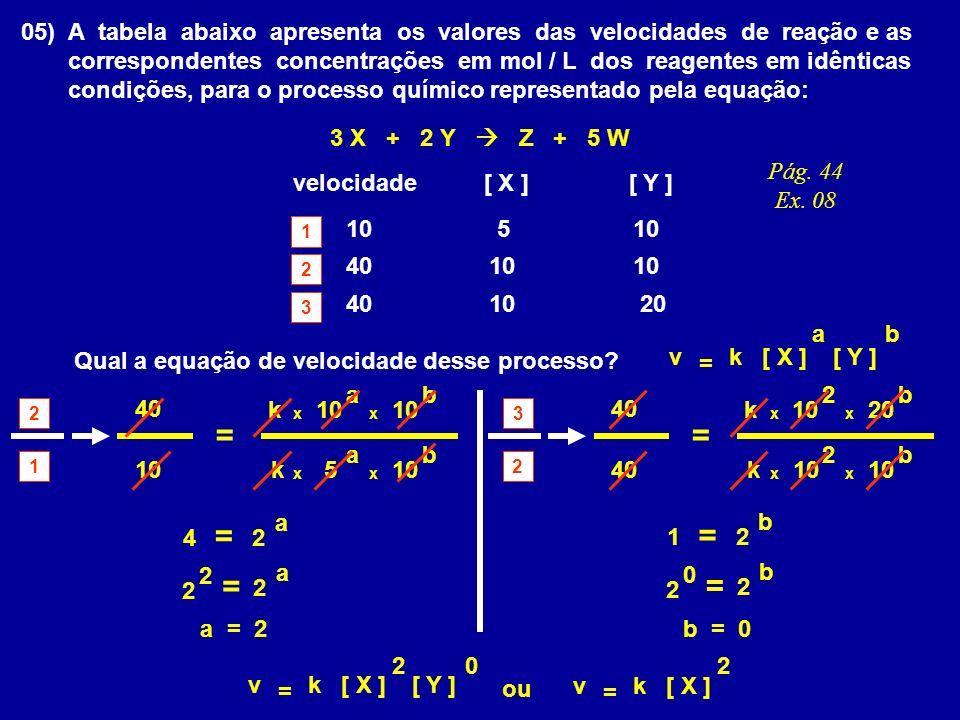 05) A tabela abaixo apresenta os valores das velocidades de reação e as correspondentes concentrações em mol / L dos reagentes em idênticas condições, para o processo químico representado pela equação: 3 X + 2 Y Z + 5 W velocidade [ X ] [ Y ] 10 40 20 5 Qual a equação de velocidade desse processo.