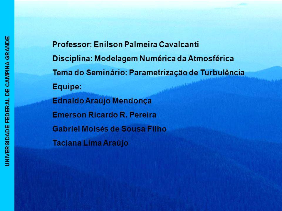Professor: Enilson Palmeira Cavalcanti Disciplina: Modelagem Numérica da Atmosférica Tema do Seminário: Parametrização de Turbulência Equipe: Ednaldo Araújo Mendonça Emerson Ricardo R.