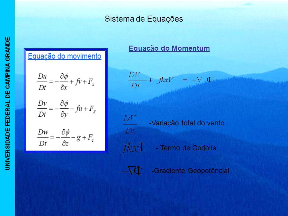 Sistema de Equações -Variação total do vento - Termo de Coriolís -Gradiente Geopotêncial Equação do Momentum