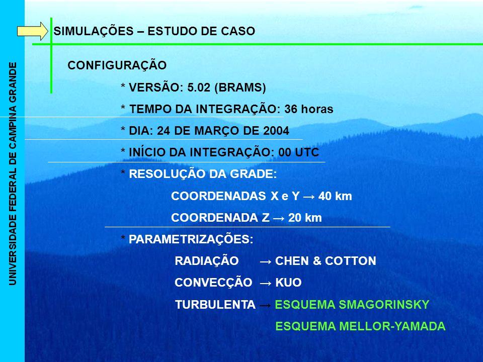 SIMULAÇÕES – ESTUDO DE CASO CONFIGURAÇÃO * VERSÃO: 5.02 (BRAMS) * TEMPO DA INTEGRAÇÃO: 36 horas * DIA: 24 DE MARÇO DE 2004 * INÍCIO DA INTEGRAÇÃO: 00 UTC * RESOLUÇÃO DA GRADE: COORDENADAS X e Y 40 km COORDENADA Z 20 km * PARAMETRIZAÇÕES: RADIAÇÃO CHEN & COTTON CONVECÇÃO KUO TURBULENTA ESQUEMA SMAGORINSKY ESQUEMA MELLOR-YAMADA