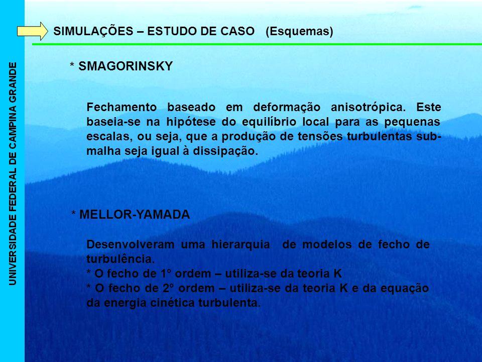 SIMULAÇÕES – ESTUDO DE CASO (Esquemas) * SMAGORINSKY * MELLOR-YAMADA Fechamento baseado em deformação anisotrópica.