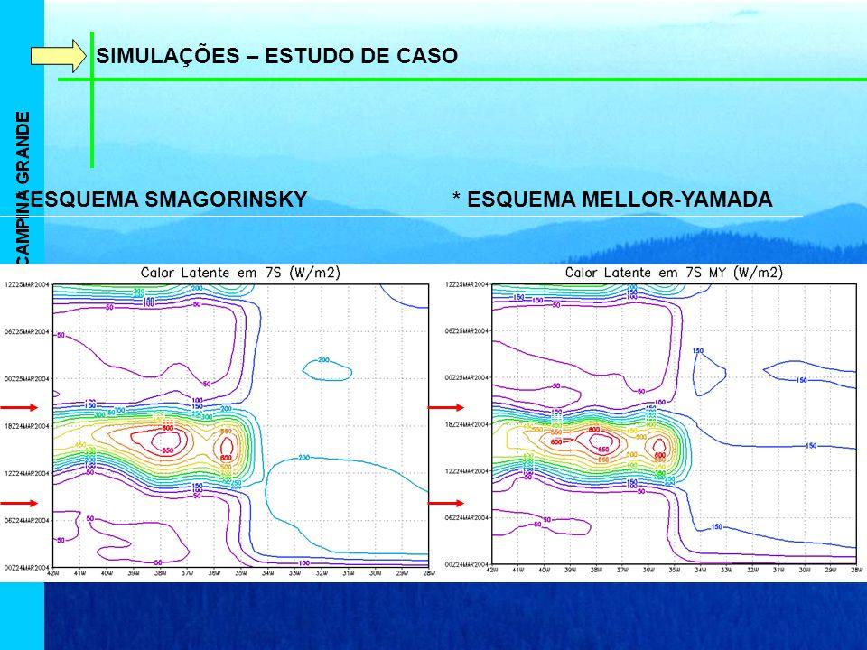 SIMULAÇÕES – ESTUDO DE CASO * ESQUEMA SMAGORINSKY * ESQUEMA MELLOR-YAMADA