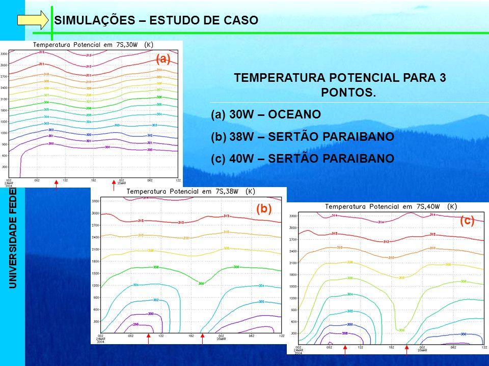SIMULAÇÕES – ESTUDO DE CASO TEMPERATURA POTENCIAL PARA 3 PONTOS.