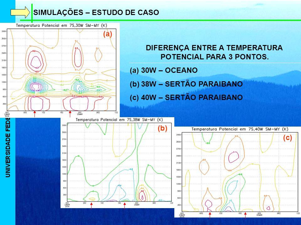 SIMULAÇÕES – ESTUDO DE CASO DIFERENÇA ENTRE A TEMPERATURA POTENCIAL PARA 3 PONTOS.