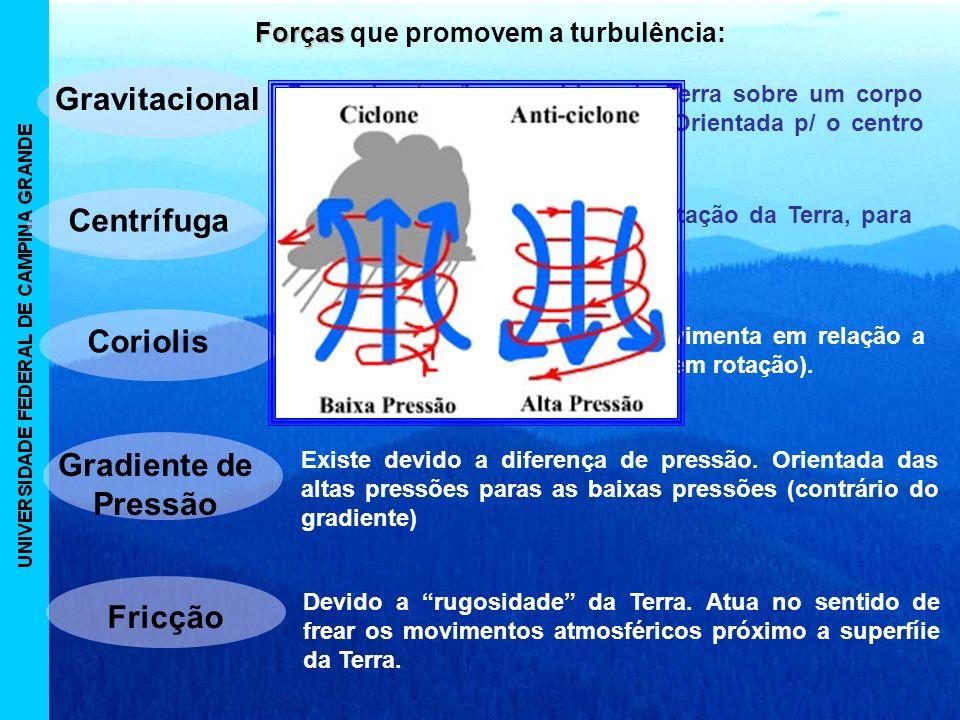 Forças Forças que promovem a turbulência: Gravitacional Força de atração exercida pela Terra sobre um corpo de massa m sobre a superfície.
