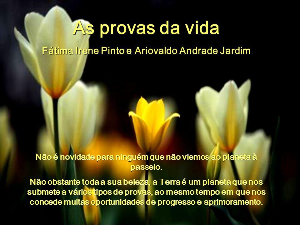 As provas da vida Fátima Irene Pinto e Ariovaldo Andrade Jardim Não é novidade para ninguém que não viemos ao planeta à passeio.