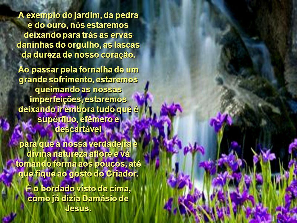 A exemplo do jardim, da pedra e do ouro, nós estaremos deixando para trás as ervas daninhas do orgulho, as lascas da dureza de nosso coração.