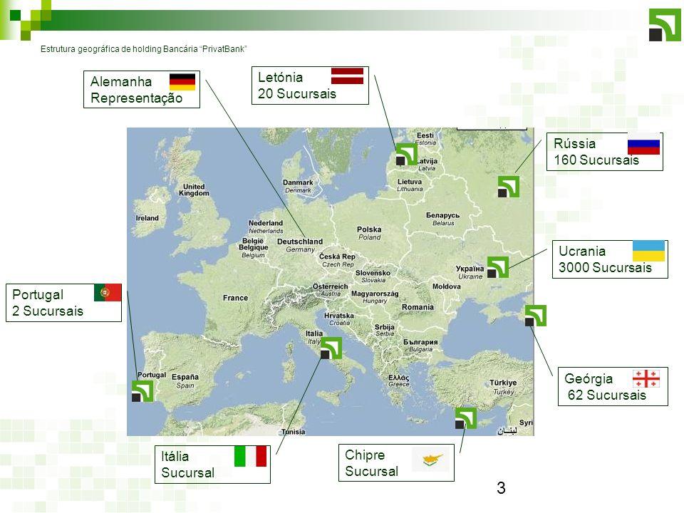 3 Estrutura geográfica de holding Bancária PrivatBank Letónia 20 Sucursais Rússia 160 Sucursais Portugal 2 Sucursais Ucrania 3000 Sucursais Chipre Sucursal Itália Sucursal Geórgia 62 Sucursais Alemanha Representação