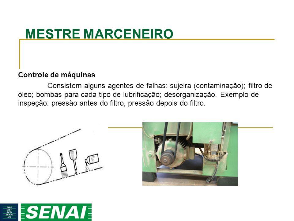 MESTRE MARCENEIRO Controle de máquinas Consistem alguns agentes de falhas: sujeira (contaminação); filtro de óleo; bombas para cada tipo de lubrificaç