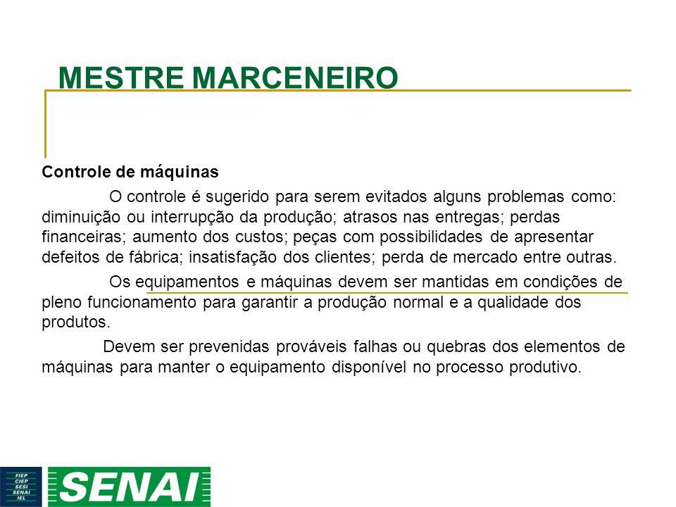 MESTRE MARCENEIRO Controle de máquinas O controle é sugerido para serem evitados alguns problemas como: diminuição ou interrupção da produção; atrasos