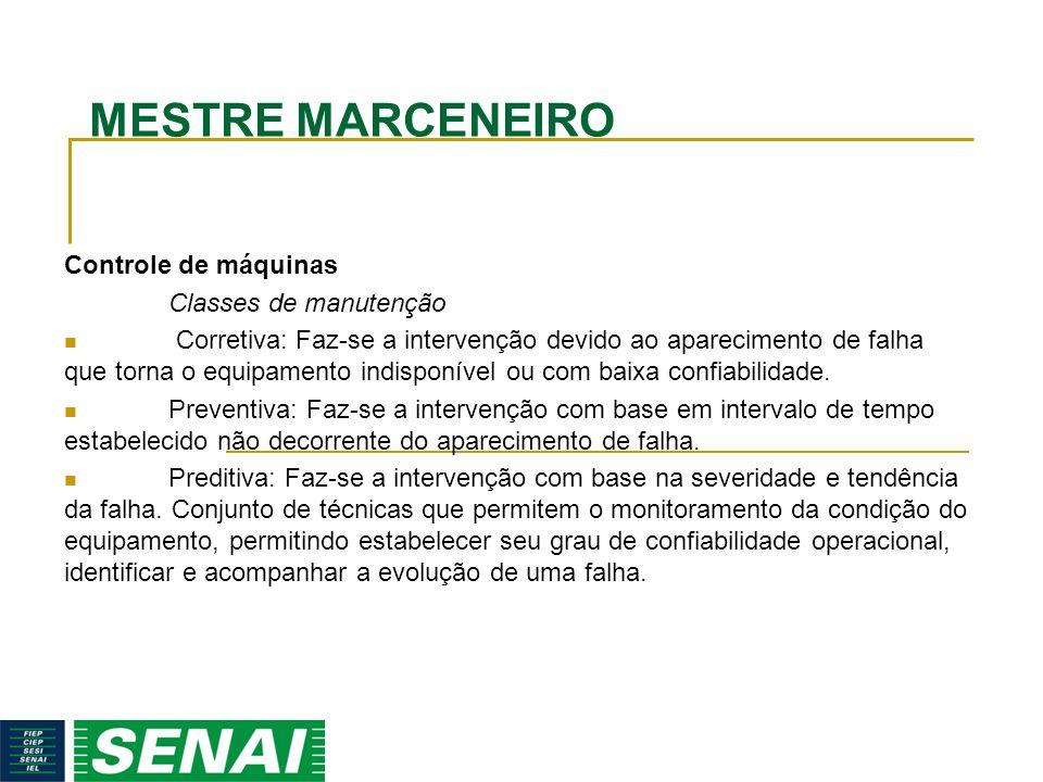MESTRE MARCENEIRO Controle de máquinas Classes de manutenção Corretiva: Faz-se a intervenção devido ao aparecimento de falha que torna o equipamento i