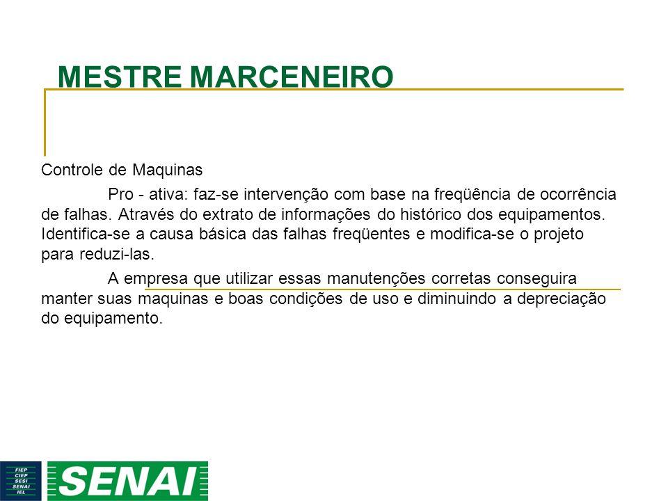 MESTRE MARCENEIRO Controle de Maquinas Pro - ativa: faz-se intervenção com base na freqüência de ocorrência de falhas. Através do extrato de informaçõ