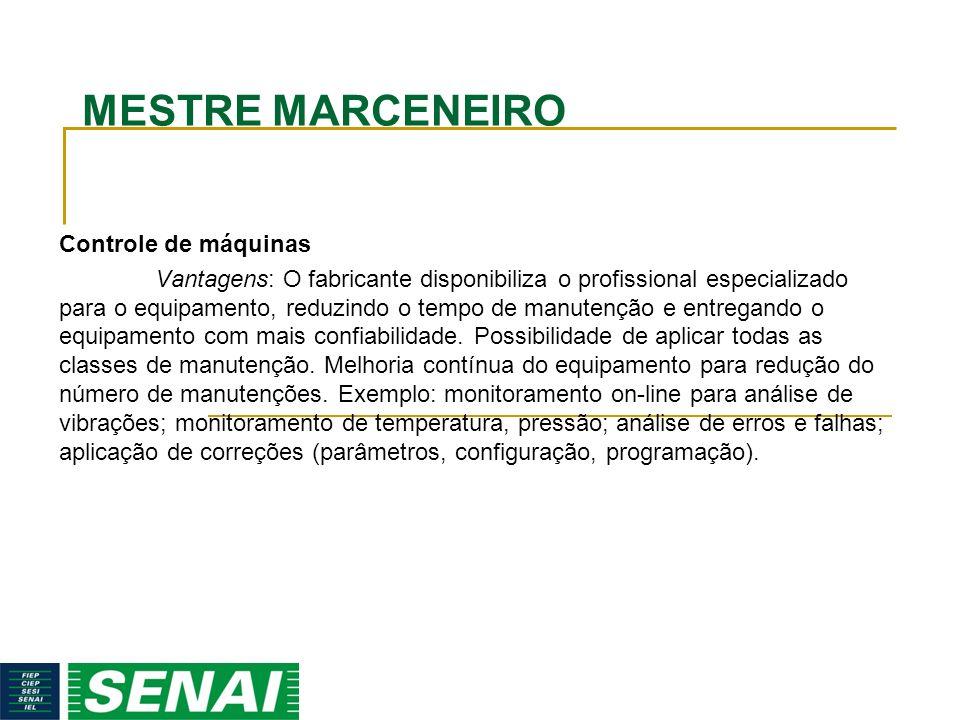 MESTRE MARCENEIRO Controle de máquinas Vantagens: O fabricante disponibiliza o profissional especializado para o equipamento, reduzindo o tempo de man