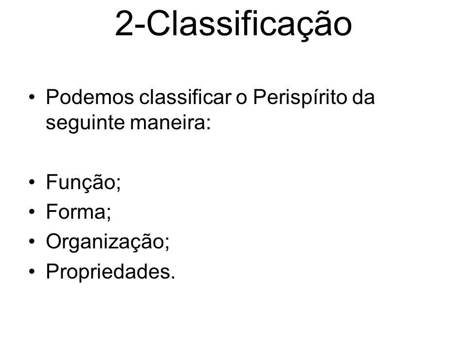 2-Classificação Podemos classificar o Perispírito da seguinte maneira: Função; Forma; Organização; Propriedades.