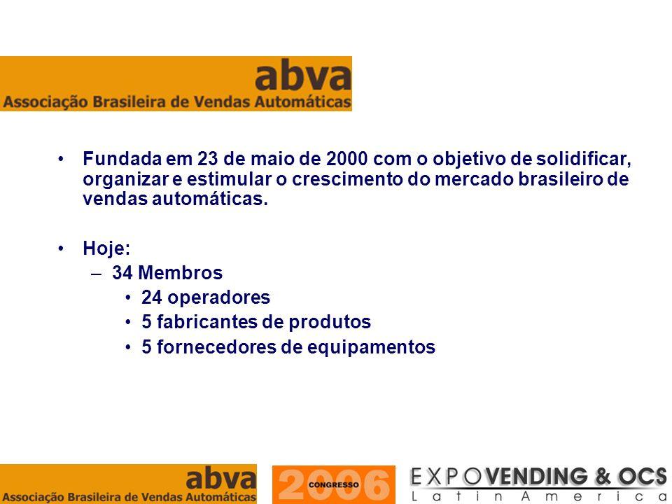 ASSOCIAÇÃO BRASILEIRA DE VENDAS AUTOMÁTICAS Fundada em 23 de maio de 2000 com o objetivo de solidificar, organizar e estimular o crescimento do mercad