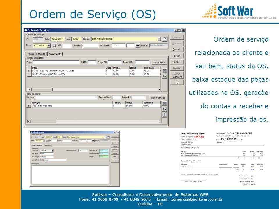 Softwar – Consultoria e Desenvolvimento de Sistemas WEB Fone: 41 3668-8709 / 41 8849-9578 – Email: comercial@softwar.com.br Curitiba – PR Ordem de Ser