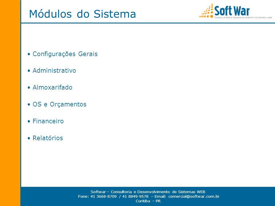 Softwar – Consultoria e Desenvolvimento de Sistemas WEB Fone: 41 3668-8709 / 41 8849-9578 – Email: comercial@softwar.com.br Curitiba – PR Módulos do S