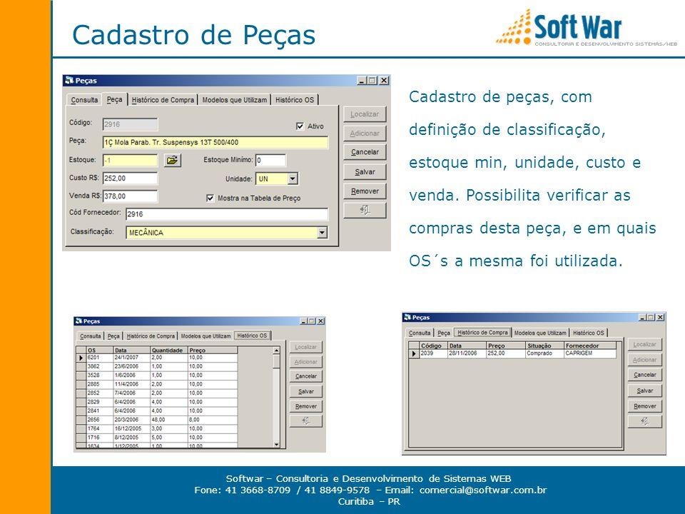 Softwar – Consultoria e Desenvolvimento de Sistemas WEB Fone: 41 3668-8709 / 41 8849-9578 – Email: comercial@softwar.com.br Curitiba – PR Cadastro de Funcionários Cadastros dos funcionários, com login e senha, e controle de acesso por processo.