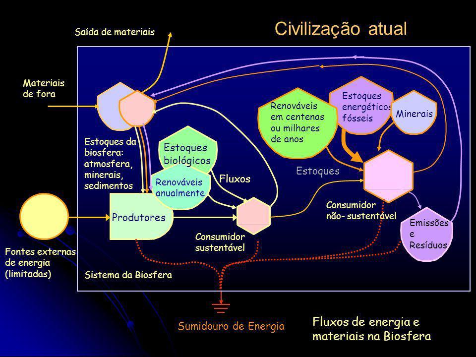 Fontes externas de energia (limitadas) Sumidouro de Energia Sistema da Biosfera Civilização urbana não industrial Produtores Estoques da biosfera: atm