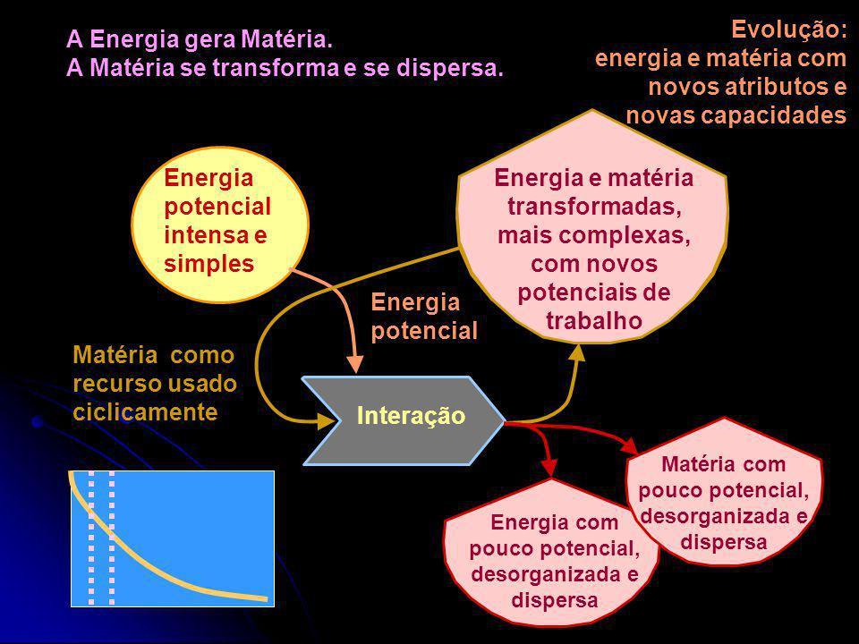 A Energia Potencial se transforma e se dispersa. Interação Energia potencial intensa e simples Energia menos intensa e mais complexa, com potencial de