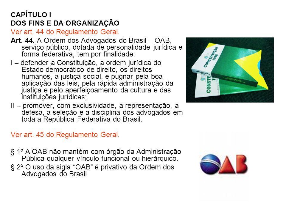CAPÍTULO I DOS FINS E DA ORGANIZAÇÃO Ver art. 44 do Regulamento Geral. Art. 44. A Ordem dos Advogados do Brasil – OAB, serviço público, dotada de pers