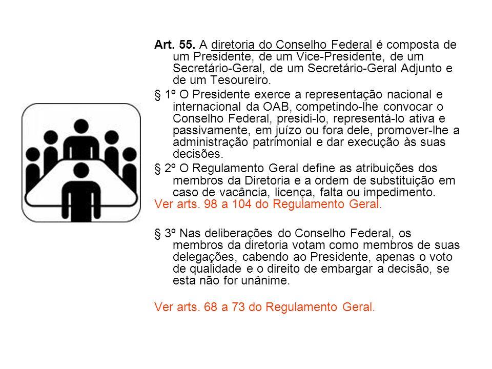 Art. 55. A diretoria do Conselho Federal é composta de um Presidente, de um Vice-Presidente, de um Secretário-Geral, de um Secretário-Geral Adjunto e