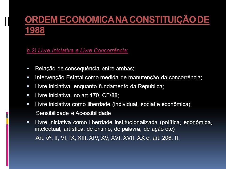 ORDEM ECONOMICA NA CONSTITUIÇÃO DE 1988 b.2) Livre Iniciativa e Livre Concorrência: Relação de conseqüência entre ambas; Intervenção Estatal como medi