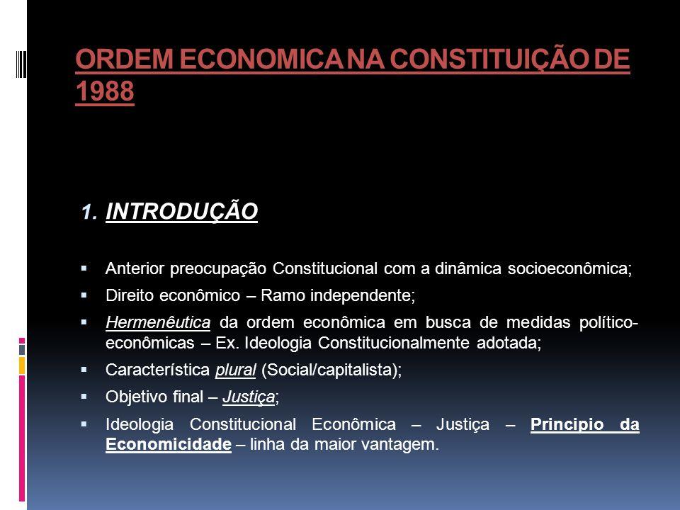 ORDEM ECONOMICA NA CONSTITUIÇÃO DE 1988 Desigualdade – rivalidade e livre concorrência; Livre iniciativa, o liberalismo e o § 4º do art.