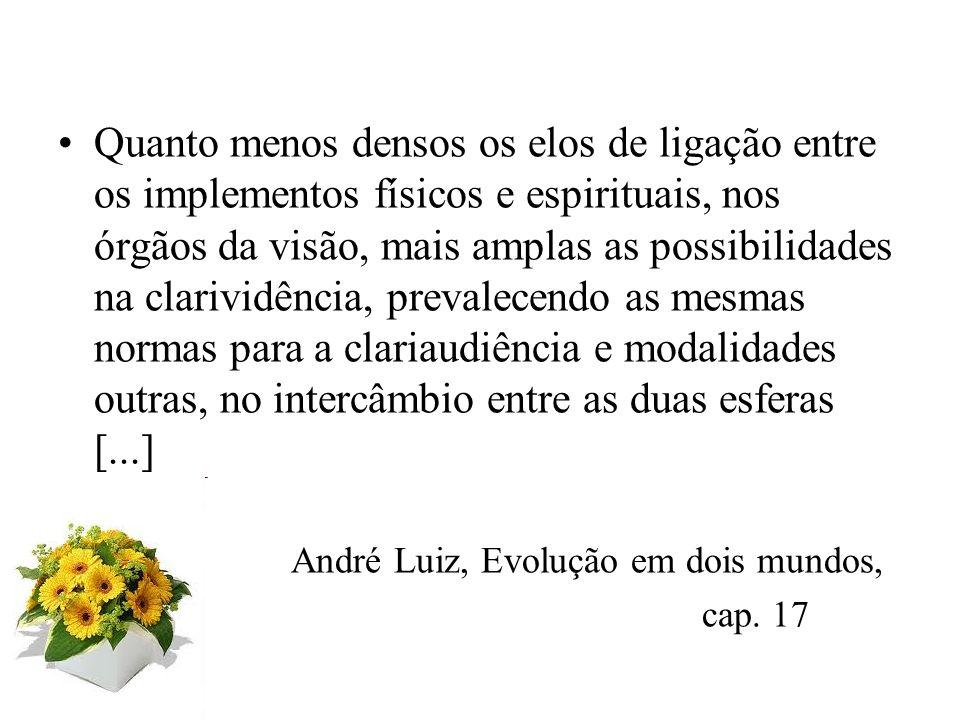 Desafios da Mediunidade, Camilo q.2 Enquanto captação ou registro do mundo invisível, o fenômeno se passa ao nível da mente.(...) A exteriorização del