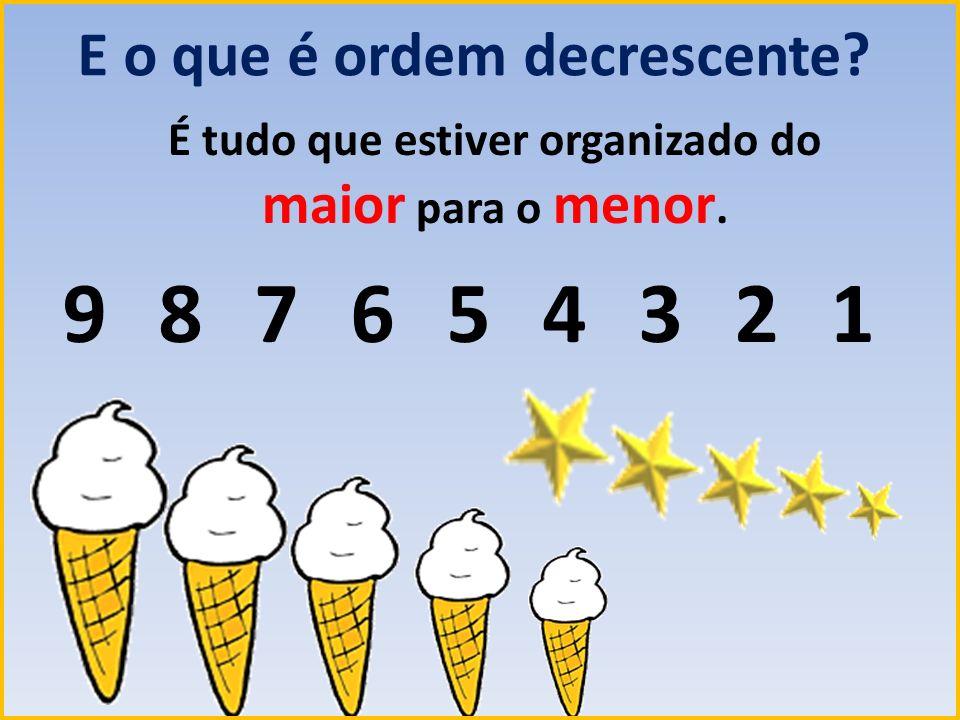E o que é ordem decrescente? É tudo que estiver organizado do maior para o menor. 987654321987654321