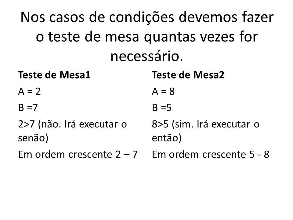 Nos casos de condições devemos fazer o teste de mesa quantas vezes for necessário. Teste de Mesa1 A = 2 B =7 2>7 (não. Irá executar o senão) Em ordem