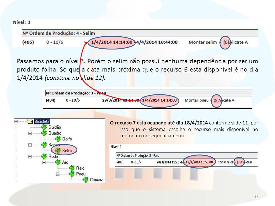 O recurso 7 está ocupado até dia 18/4/2014 conforme slide 11.